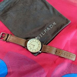Silpada watch, brown leather band.